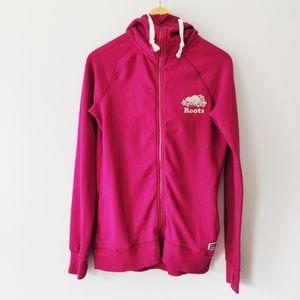 Roots Pink Zipper Hoodie Sweater